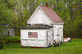 A cool, patriotic shed in rural Maine.