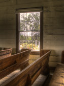 This interior window view detail shows off the handsome hand made pews, traditional wide, horizontal wall boards and a simple 6 over 6 window treatment. The view when looking out the window and onto the cemetery grounds causes one's mind to wander… you can almost feel the spirits that may be moving about. This is a part of the Historic Rural Churches of Georgia (HRCGA.ORG) project that I've been working on.
