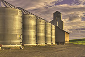 Some striking silos and a grain elevator just outside of Viola, Idaho.