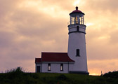 Sunset at the Cape Blanco Lighthouse on the Oregon coast.