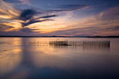A fishing weir at sunset on Grand Manan Island in New Brunswick, Canada.