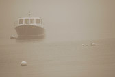 Ruth 5, a lobster boat, sits in the calm fog off the coast of Maine.