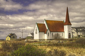 This is in Peggy's Cove, Nova Scotia.  A beautiful old church with great history.