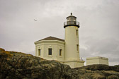 In Bullards Beach State Park, on the coast of Oregon, the lighthouse guards the mouth of the Coquille River.