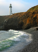 A beautiful lighthouse in a dramatic setting on the Oregon coast, between Depot Bay and Newport.