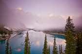 A foggy sunrise at Morain Lake in Banff National Park, Canada.  These colors are amazing to see in person.