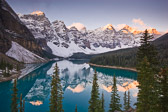 Sunrise at Morain Lake in Banff National Park, Canada.  These colors are amazing to see in person.