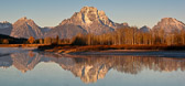 Absolutely calm waters of Oxbow Bend on the Snake RIver in Grand Teton National Park.