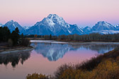 Just before sunrise at Oxbow Bend on the Snake RIver in Grand Teton National Park.