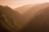 A distant view of Kings Canyon National Park. The hazy sky can do beautiful things with this many layers.