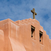 Close up details of a simply beautiful church in Santa Fe, New Mexico.