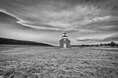 The old San Rafeal church in La Cueva, New Mexico, sits in the middle of nothing.